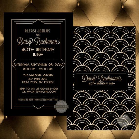 Art Deco 1920's casino party invitation